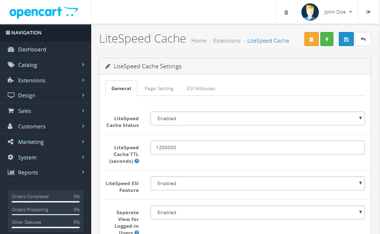 litespeed cache prestashop config